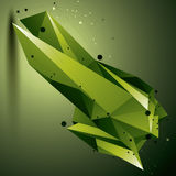 3D vector abstract design object, green polygonal complicated fi Stock Image
