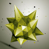3D vector abstract design object, polygonal complicated figure. Bright deformed shape, render Stock Photography