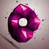 3D vector abstract design object, polygonal complicated figure. Colorful deformed shape, render Royalty Free Stock Image