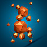 3D vector abstract design object, polygonal complicated figure. Colorful three-dimensional deformed shapes connected, render Royalty Free Stock Photography