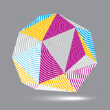 3D vector abstract design object, polygonal complicated figure. Colorful three-dimensional deformed striped shape, render Royalty Free Stock Image