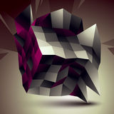 3D vector abstract design object, polygonal complicated figure. Grayscale deformed shape, render Royalty Free Stock Photography