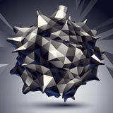 3D vector abstract design object, polygonal complicated figure. Grayscale deformed shape, render Stock Photography