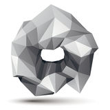 3D vector abstract design object, polygonal complicated figure. Grayscale three-dimensional deformed shape, render Royalty Free Stock Image