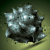 3D vector abstract design object, polygonal complicated figure w Stock Images