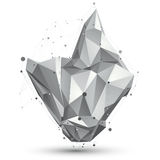 3D vector abstract design object, polygonal complicated figure w. Ith lines mesh on white background Royalty Free Illustration