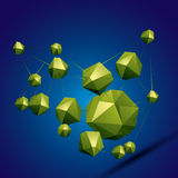 3D vector abstract design object, polygonal complicated figures. Stock Images