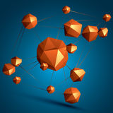 3D vector abstract design object, polygonal complicated figures. Royalty Free Stock Photo