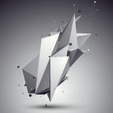 3D vector abstract design template, polygonal complicated contra. St figure with lines mesh placed over dark background Stock Images