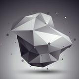 3D vector abstract ontwerpmalplaatje, veelhoekige ingewikkelde contra Stock Afbeeldingen