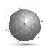 3D vector abstract ontwerpvoorwerp, orbitaal ingewikkeld cijferverstand Stock Foto's