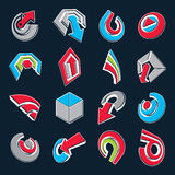 3d vector abstract shapes, different business icons and design e Stock Image