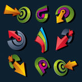 3d vector abstract shapes, different business icons and design e. Lements collection. Geometric abstract arrows for use as navigation pictograms and app buttons Vector Illustration