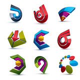 3d vector abstract shapes, different business icons and design e. Lements collection. Geometric abstract arrows for use as navigation pictograms and app buttons Royalty Free Illustration