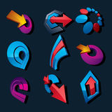 3d vector abstract shapes, different business icons and design e. Lements collection. Geometric abstract arrows for use as navigation pictograms and app buttons Stock Illustration