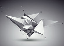 3D vector abstract tech illustration, perspective geometric unus. Ual background with wireframe Royalty Free Stock Photo