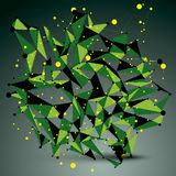3D vector abstract technology green mesh shape, perspective geom. Etric lace object with wireframe Stock Photography