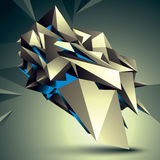 3D vector abstract technology illustration, geometric. 3D vector abstract technology illustration, perspective geometric unusual object. Origami shape Royalty Free Stock Photos