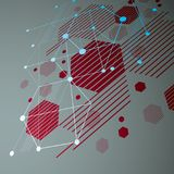 3d vector abstracte rode die achtergrond in retro stijl van Bauhaus wordt gecreeerd Royalty-vrije Stock Foto