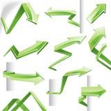 3D vector arrows. Set of green vector glass arrows. Vector illustration Stock Photos