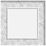 3D Vector bas-relief frame, floral pattern,  festive pattern, white pattern Royalty Free Stock Photography