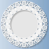 3D Vector bas-relief frame, vignette with ornaments, decorative plate,   festive pattern, white pattern. Template greetings Stock Images