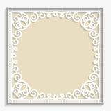 3D Vector bas-relief frame, vintage pattern,  festive pattern, white pattern Stock Images