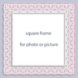 3D Vector bas-relief square frame for photo or picture, vintage vignette  Stock Image