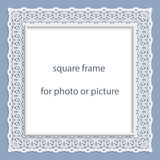 3D Vector bas-relief square frame for photo or picture Royalty Free Stock Image