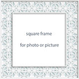 3D Vector bas-relief square frame for photo or picture, vintage vignette with openwork border,  festive pattern, gift template Royalty Free Stock Photos