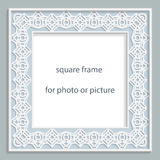 3D Vector bas-relief square frame for photo or picture, vintage vignette with openwork border,  festive pattern, gift template Royalty Free Stock Photography