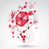 3d vector Bauhaus abstract background made with grid and overlap. Ping geometric elements, circles and honeycombs. Retro artwork, technology style red graphic Royalty Free Stock Photo