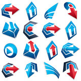 3d vector blue abstract shapes, different business icons and des. Ign elements collection. Geometric abstract arrows for use as navigation pictograms and app Royalty Free Illustration
