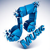 3d vector blue shattered musical notes with music word. Art melo Stock Image