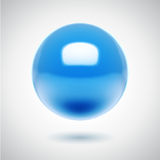 3d vector blue sphere. Reflective realistic sphere on white background stock illustration