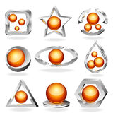 3d vector business abstract icons set. Chrome and. Orange. EPS10 Royalty Free Stock Photos