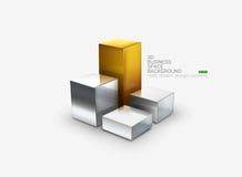 3D Vector chart. 3D Vector illustration of metallic chart bars Royalty Free Stock Photos