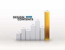 3D Vector chart. 3D Vector illustration of metallic chart bars Stock Images