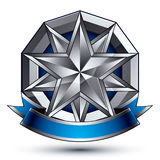 3d vector classic royal symbol, silver emblem Royalty Free Stock Photo