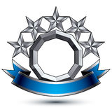 3d vector classic royal symbol, silver stars Stock Photography