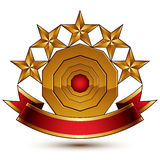 3d vector classic royal symbol with sophisticated five golden st Royalty Free Stock Image