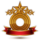 3d vector classic royal symbol with sophisticated five golden st Royalty Free Stock Images