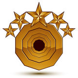 3d vector classic royal symbol, sophisticated golden round emble Royalty Free Stock Photography