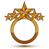 3d vector classic royal symbol, sophisticated golden round emble Royalty Free Stock Images