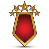 3d vector classic royal symbol, sophisticated golden shield shap Royalty Free Stock Photos