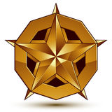 3d vector classic royal symbol, sophisticated golden star emblem Stock Photography