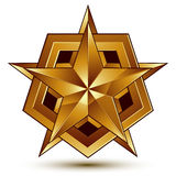 3d vector classic royal symbol, sophisticated golden star emblem Royalty Free Stock Image