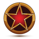 3d vector classic royal symbol, sophisticated red star with gold Stock Photography