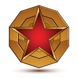 3d vector classic royal symbol, sophisticated red star placed on. A golden ring, glossy aurum element Royalty Free Stock Photography