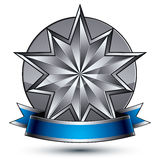 3d vector classic royal symbol, sophisticated silver emblem Royalty Free Stock Photo